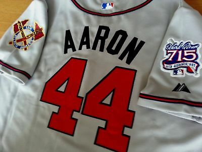 e13fcb95d Brand New Majestic Atlanta Braves  44 Hank Aaron dual patches SEWN GREY  Jersey