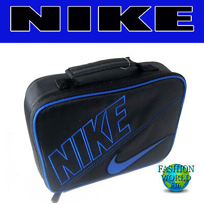 316654cd5d Kids Sporty Nike Insulated School Lunch Box Bag Tote Carrier Black Blue  9A2217