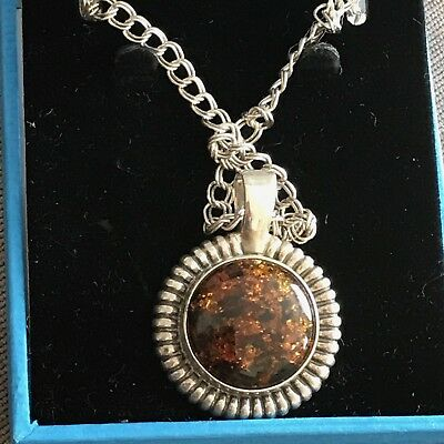 SILVER Hallmarked TIGERS EYE PENDANT ON CHAIN
