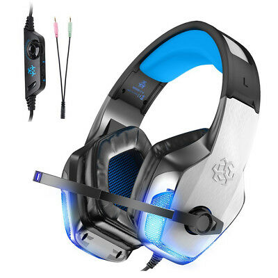 Surround Sound USB Wired Gaming Headset Over Ear Headphones With Mic LED Light