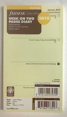 Filofax 2019 Personal Week on 2 Pages Diary - Cotton Cream 19-68413  Multi Lang.