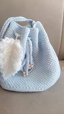 HANDMADE TURQUOISE CROCHET BAG with leaflike tassel, made by cotton string !