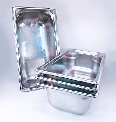 """4 - Vollrath Super Pan 3 - 1/3 Size x 4"""" Prep Steam Buffet Stainless -SHIPS FREE"""