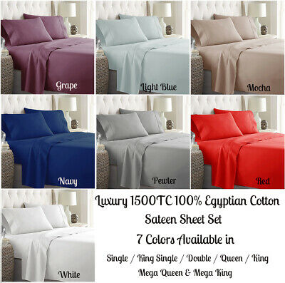 40cm / 50cm Wall 1000TC Real Egyptian Cotton Sheet Set Fitted Sheet Pillowcase/s