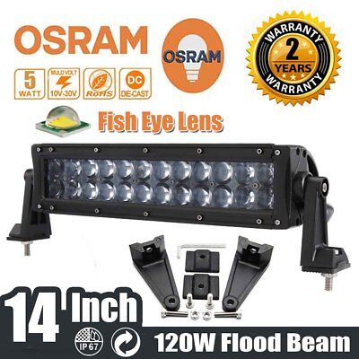 "14"" 120W OSRAM LED Work Light Bar Flood Beam 4WD Off-road Driving Jeep Truck SUV"