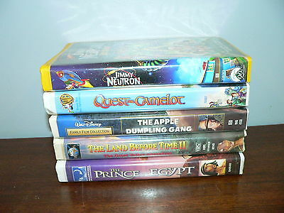 Lot of 5 Walt Disney and Animated VHS Movies~Jimmy Neutron, Prince of Egypt, etc