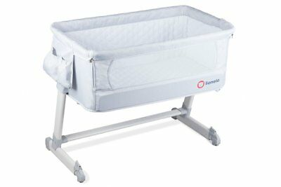 BABY Crib Bedside Next to Me Theo Grey Mattress Mosquito Cot bed  From Birth