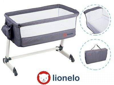 BABY Crib Bedside Next to Me Theo Dark Grey Mattress Mosquito Cot bed From Birth