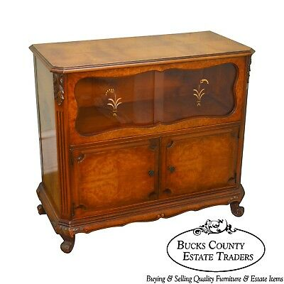 French Louis XV 1930s Burl Wood Server Cabinet w/ Etched Glass Doors by Saginaw