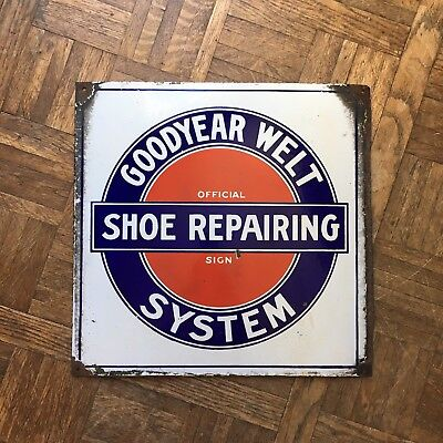 Antique Porcelain Sign, Double Sided Goodyear Welt System Shoe Repairing