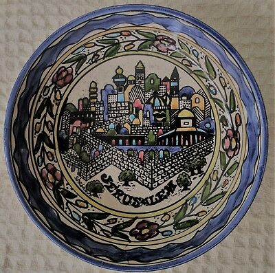 Hand-Painted Wall Hanging Plate, Folk Art  from JERUSALEM's Old City, Signed