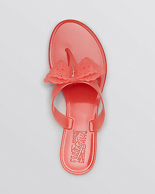35dd9ac841f6 NEW Salvatore Ferragamo BOW Logo PANDY Sandal Pink Blush Thong Sandal Jelly  Sz 9