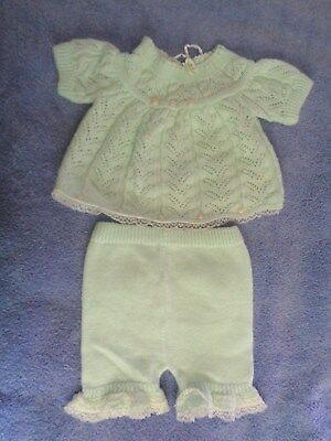Vtg Renros Italy Pastel Green Acrylic Baby Girl Outfit Knit Top Pants Clothes
