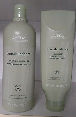 Aveda PURE ABUNDANCE Shampoo LITER 33.8oz + Conditioner 16.9 oz NEW set duo lot