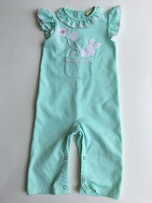 Vintage Carters Baby Girl One Pc. Bunny Jumpsuit Outfit Sz 18 Mo Flutter Sleeve