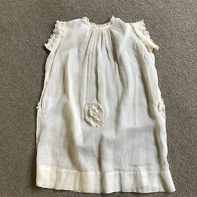 Antique Vintage Christening Gown Dress Lace Short Sleeve Ivory Pleated Bodice