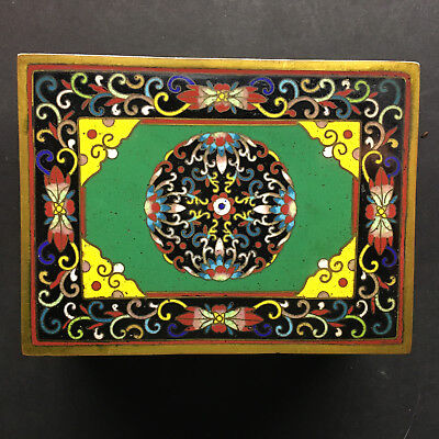 Gorgeous Older Chinese or Japanese Cloisonne Box-highly detailed heavier piece!!