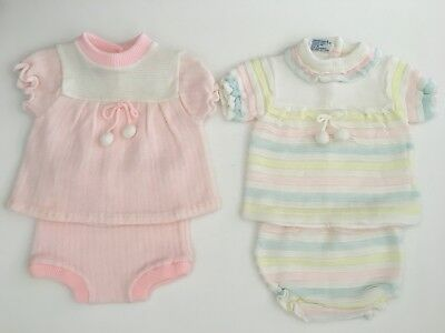 Vintage Baby Girl/Doll 2 Pc Outfits Acrylic Woolworth (Like Soft Spun) 0-6 9 Mo.