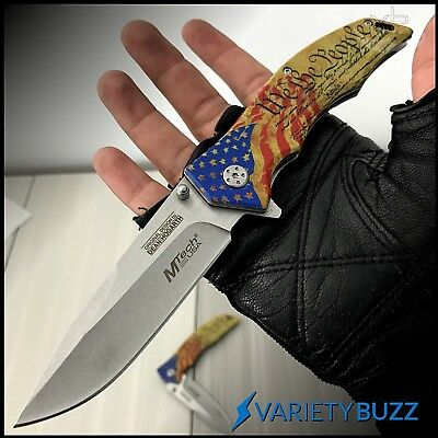 MTECH SPRING ASSISTED POCKET KNIFE Tactical Open Folding Blade GOLD USA MILITARY