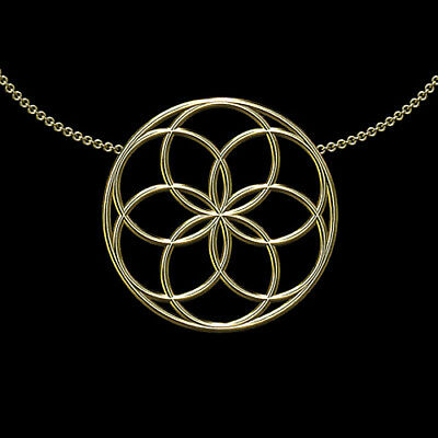 """Solid 14K Yellow Gold Seed of Life """"Days of Creation"""" Pendant Necklace"""