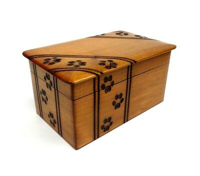 Pet Cremation Urn Wooden Box Paw Print Dog Cat Ashes Memorial Storage Chest