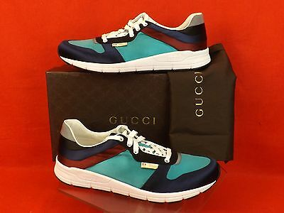 2c382cd831c Nib Gucci Blue Marine Multi Color Satin Lace Up Running Sneakers 12 13   336613