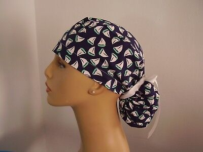 Ponytail Style Surgical Scrub Hat Cap - Sailboats