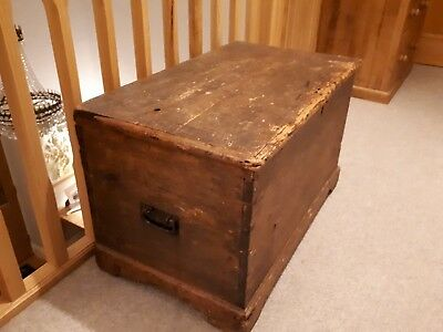 19C (or older) pine chest bedding box coffee table