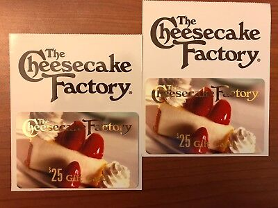 2 x $25 The Cheesecake Factory Gift Card