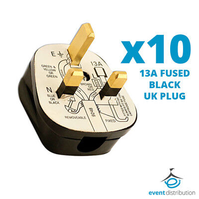 10x Standard UK 13A 13 AMP Fused Plug Top Black Mains Household Plugs 3 Pin