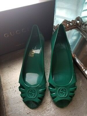 28cceed677db GUCCI Marola Rubber Green Wedges Jelly Shoes US 8