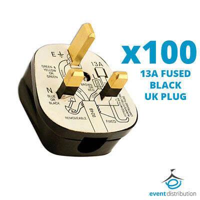 100x Standard UK 13A 13 AMP Fused Plug Top Black Mains Household Plugs 3 Pin