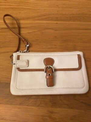 """Coach Wristlet: White and saddle in color. 10"""""""