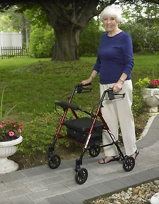 "Drive Medical Rollator Walker Aluminum Folding With 6"" Wheels Basket Soft Seat"