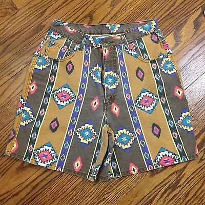 Vintage Nuovo County Seat Navajo Print High Waist Denim Shorts Size 13/14