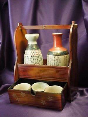 Japanese Sake Set W/ Cherry Blossom Wooden Holder- 2 Decanters & 3 Cups- Vintage
