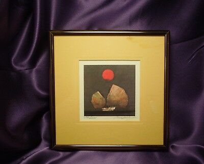 Limited Edition Far East Orient Asian Sail Boat Under Red Moon or Sun SIGNED