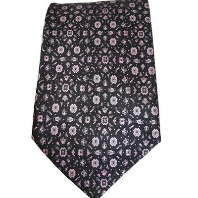 BRIONI Floral Neck Tie Navy Blue Pink 100% Silk Hand Made Italy Luxury Mens Tie