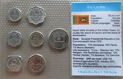 Sri Lanka...7 Uncirculated Coins......in Plastic Cover