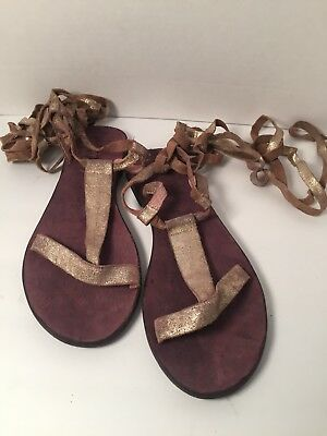 a3b2ef8c976d FREE PEOPLE DAHLIA Tie Up Gladiator Sandals Shoes Gold Shimmer 38 MSRP  68  EUC