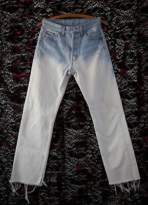 Vintage Levi's 501xx STF Ombre Wash Raw Hems Made in USA Street Style 28w