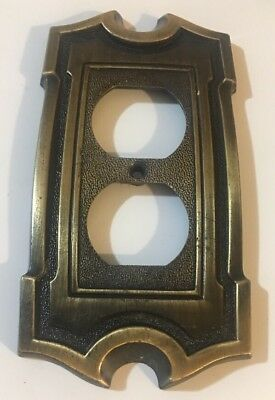 Vintage Brass Tone Metal Electric Wall outlet cover It/262