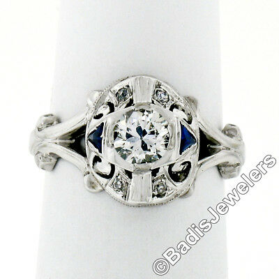 Antique Art Deco 14K White Gold .48ctw Diamond Sapphire Detailed Engagement Ring