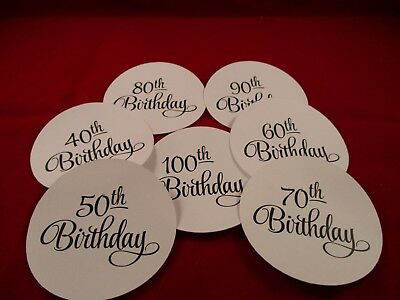 7 Circle Number Happy Birthday Die Cuts....40,50,60,70,80,90,100.....cardmaking