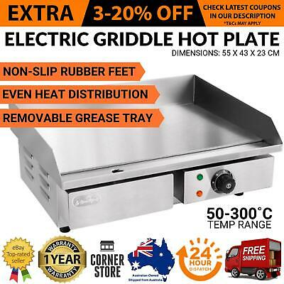 New ELECTRIC GRIDDLE GRILL HOT PLATE Commercial Meat Indoor Flat BBQ Countertop