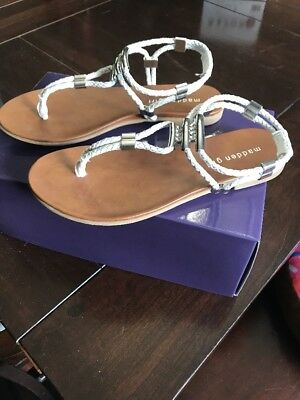 d59175847e1 MADDEN GIRL SIZE 8M NWOT White T-Strap and Cork Sandals -  19.95 ...