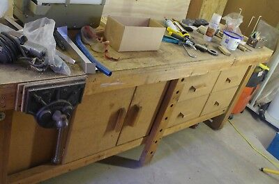 Woodworking Bench with Cupboards 8' x 2'