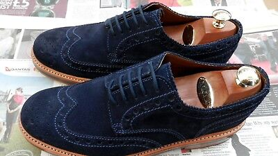 Grenson Archie Heavy Country Derby Brogue Navy Suede Shoes  UK 9G Wide Fit