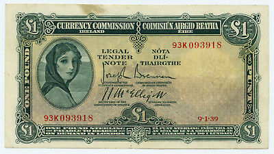 Currency Commission Ireland £1 Pound Note 1939, first date of Type. Very Fine