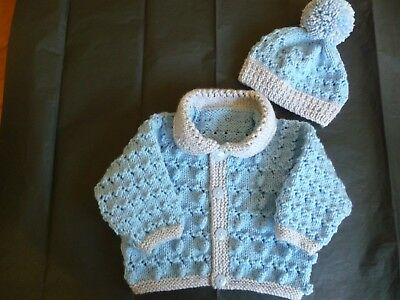 "New Hand Knitted Baby Cardigan Set  ~ 16"" ~  Boy ~ (0 - 3 mnths) Blue / Grey"